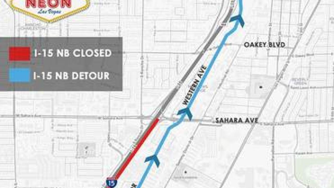Interstate 15 closure between Spring Mountain and Sahara Avenue for Aug. 15-16