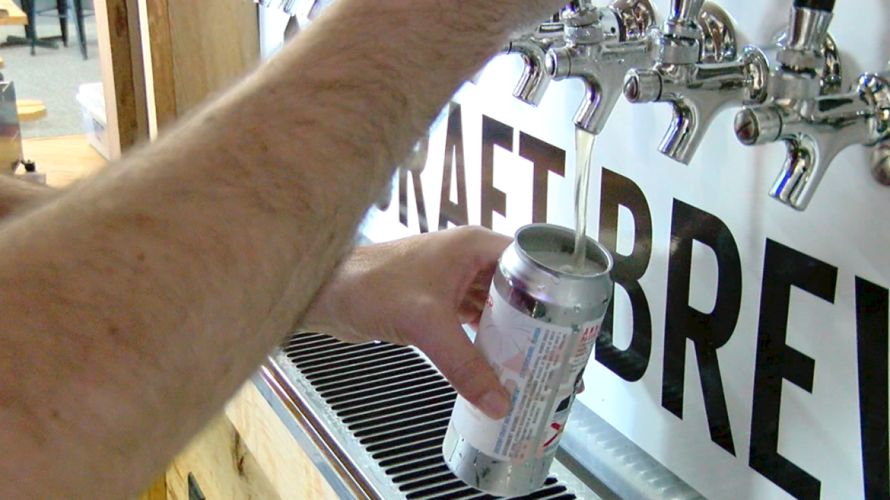 beer poured into can