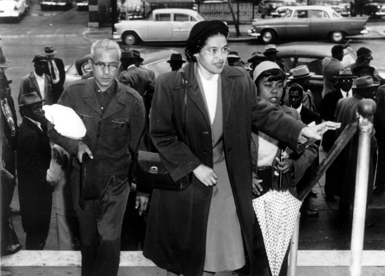 Rosa Parks arrives at circuit court to be arraigned in the racial bus boycott, Feb. 24, 1956 in Montgomery, Ala. The boycott started last Dec. 5, when Mrs. Parks was fined for refusing to move to the black section of a city bus. (AP Photo)