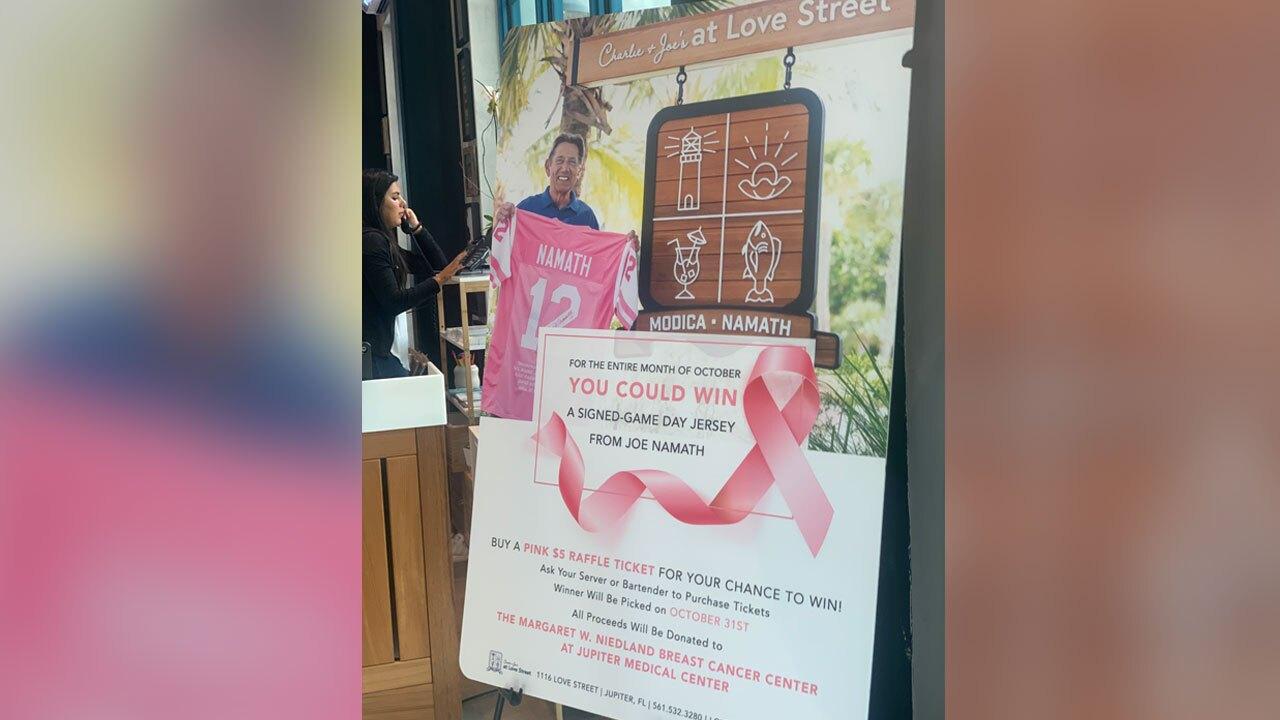 Joe Namath jersey raffle for Breast Cancer Awareness Month