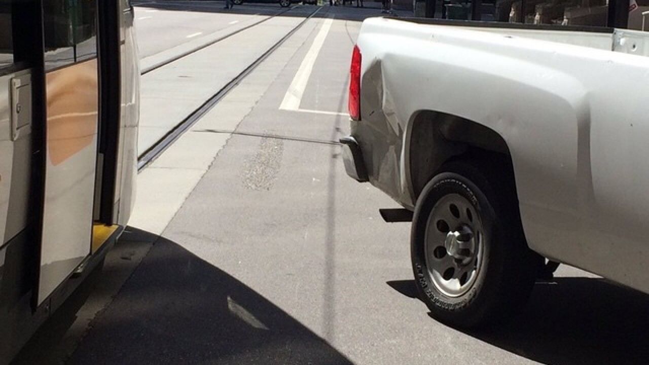 Streetcar, pickup truck collide Downtown