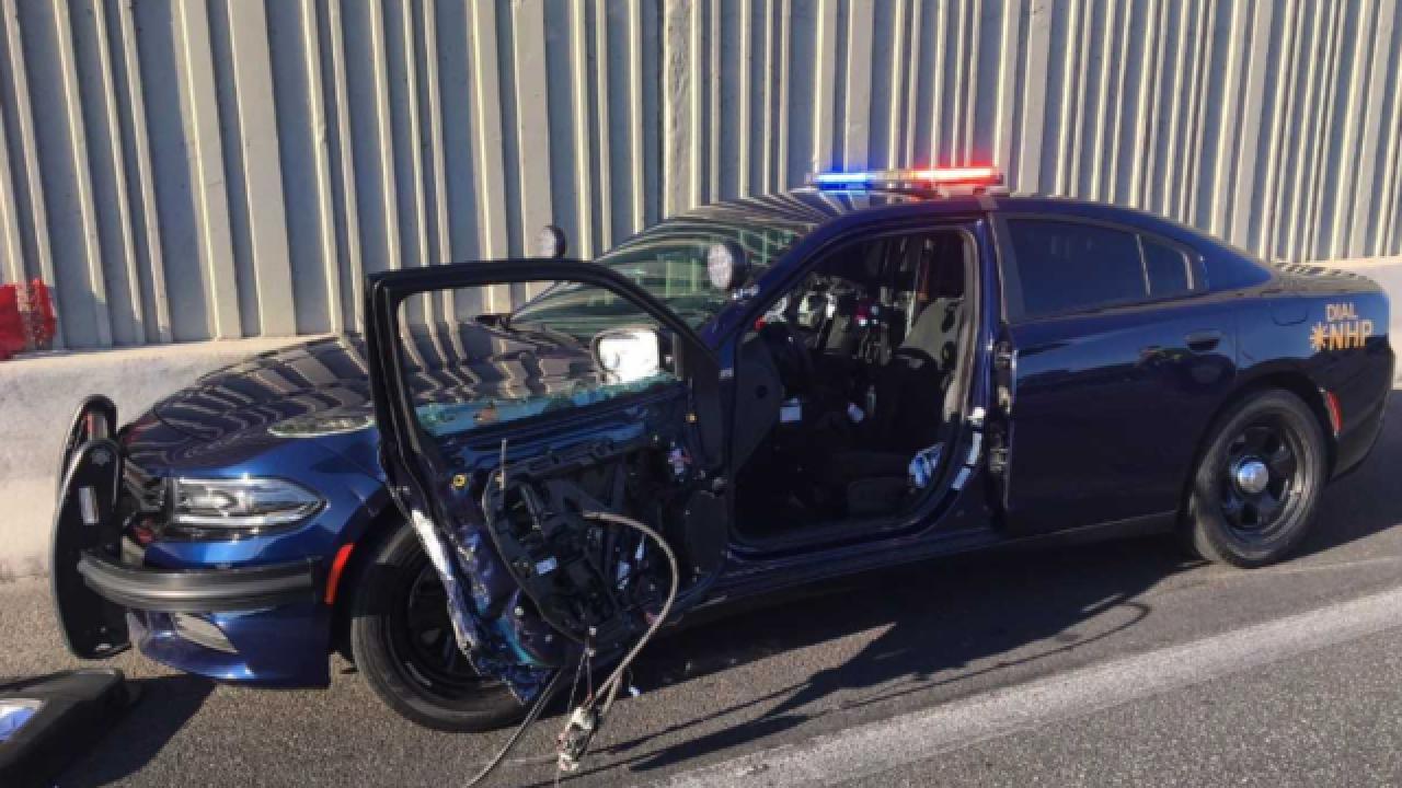 Nevada Highway Patrol releases dramatic video of patrol car being hit
