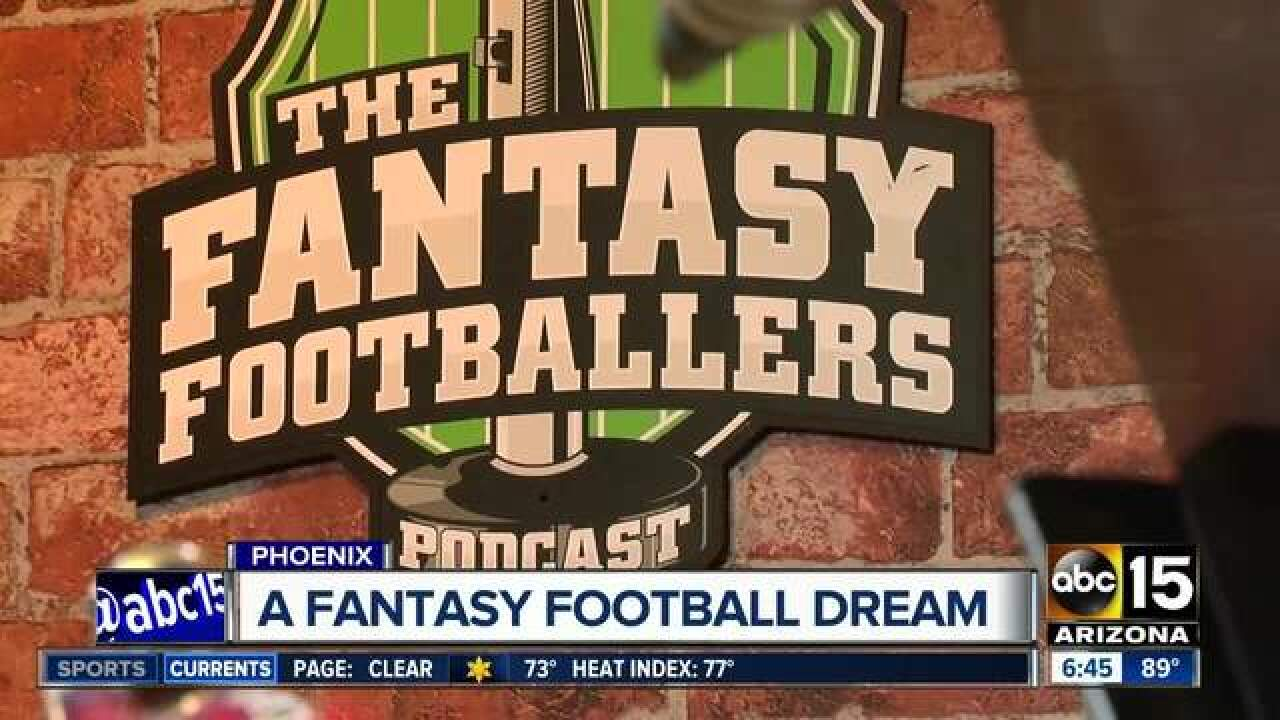 Friends work by talking about fantasy football