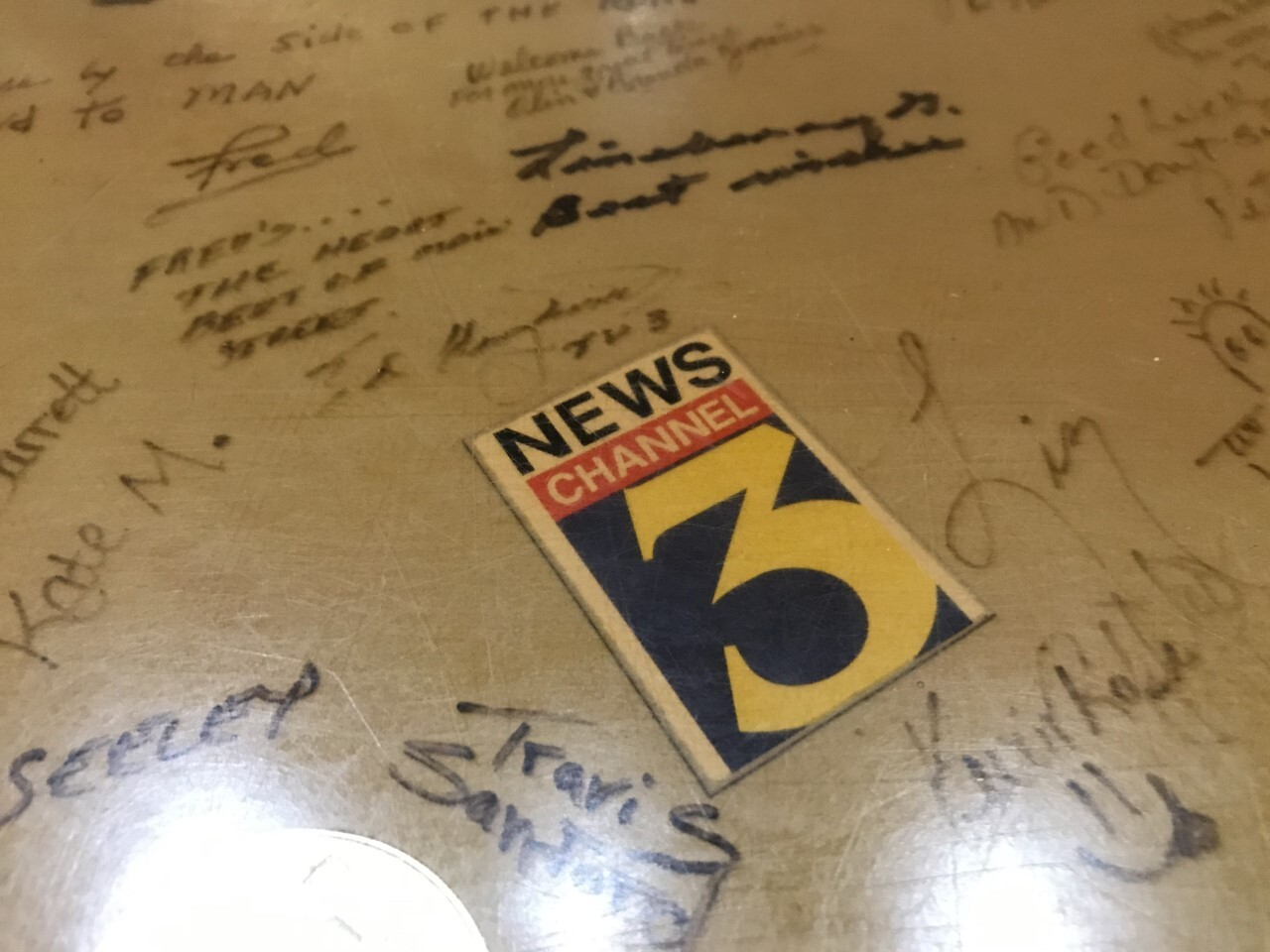 Fred's bar top with signatures