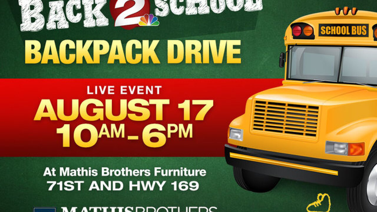 2 Works for You hosts backpack drive at Mathis Brothers Furniture Aug 17 for Tulsa-area schools