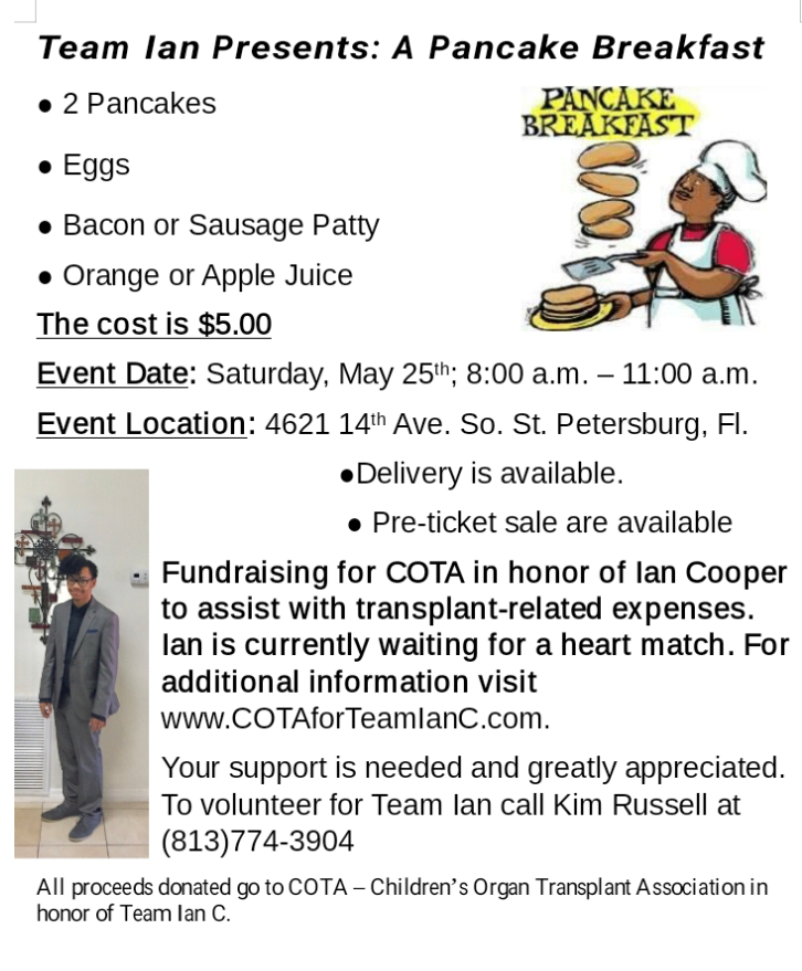 Team Ian pancake breakfast fundraiser