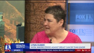 Making Strides Against Breast Cancer team leader Lynn Huber speaks on upcoming walk