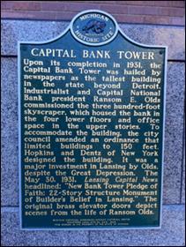 Capital Bank Tower Michigan Historical Marker