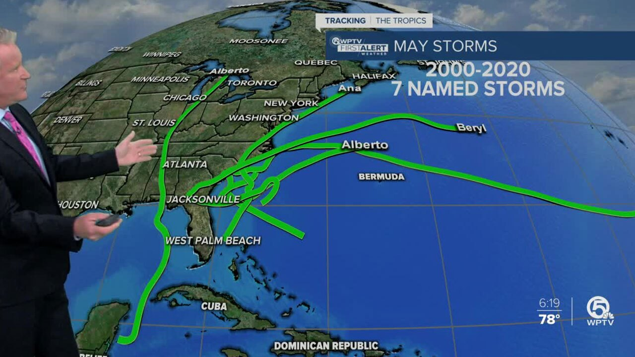 7 named tropical storms in May since 2000