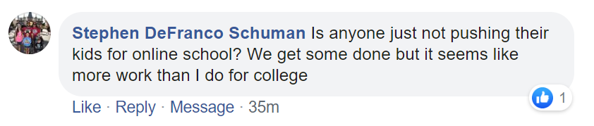 Facebook comment on decision to continue distance learning.