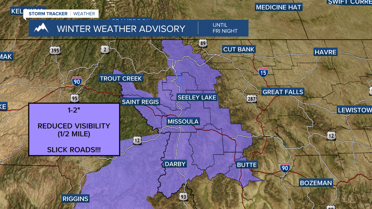 Winter Weather Advisories in effect Friday afternoon and evening