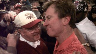 Bobby Bowden and Steve Spurrier after 1997 Sugar Bowl