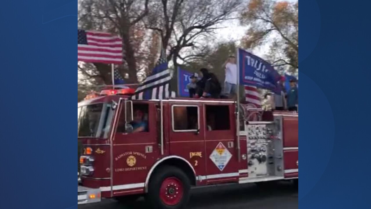 "A firetruck bearing Trump campaign flags causes ""quite a ruckus"" in northern Utah."