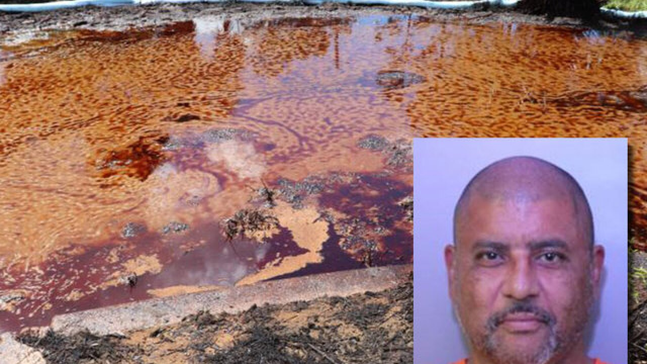 Fla. man arrested for dumping 10K gallons of oil