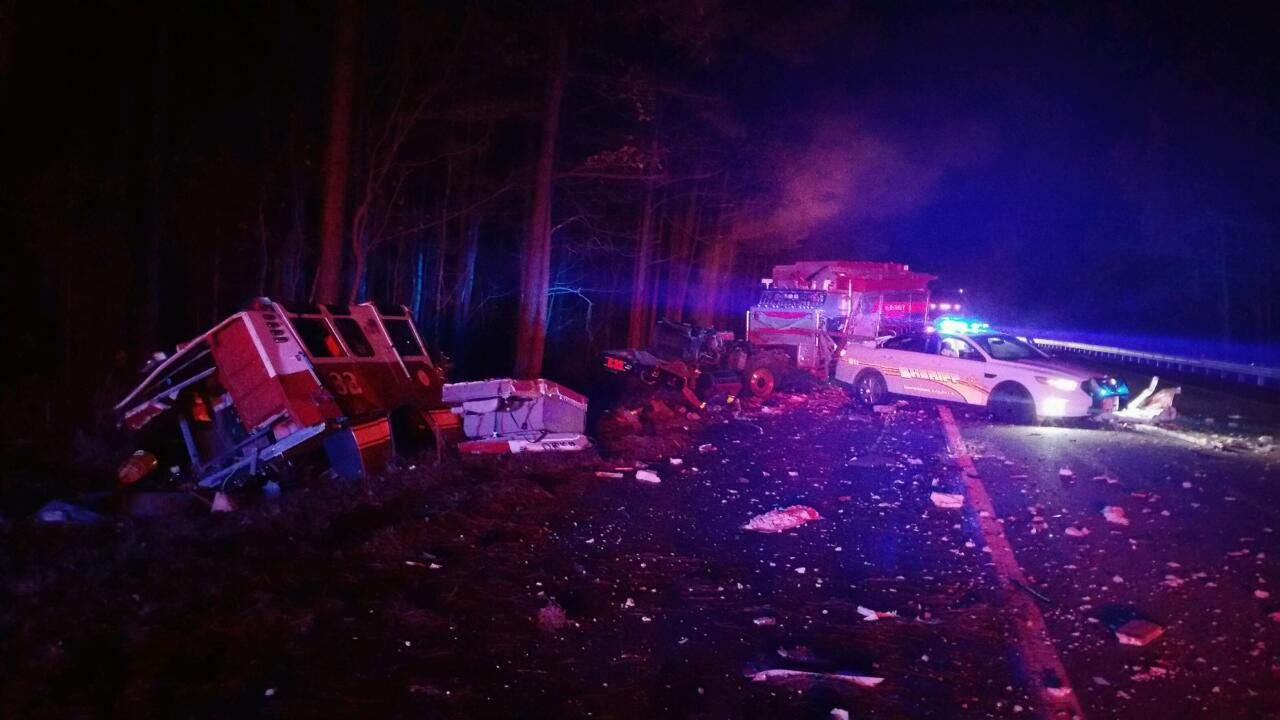 Tractor trailer splits fire truck in crash that closedI-85