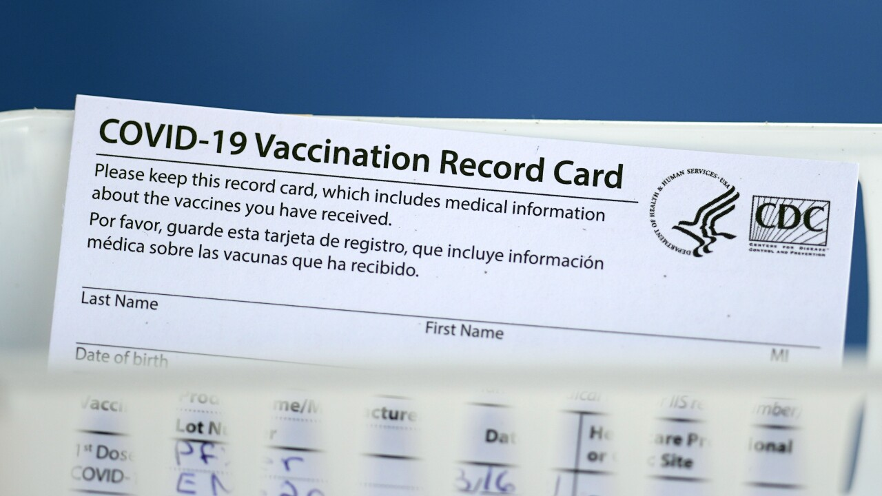 COVID-19 Vaccination Record Card vaccine card