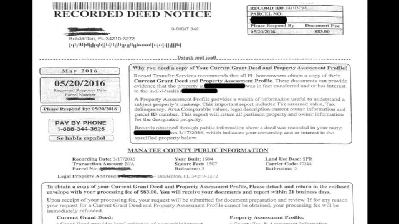 Manatee clerk warning of recorded deed scam