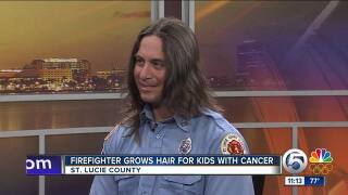 St. Lucie County firefighter grows hair for children fighting cancer