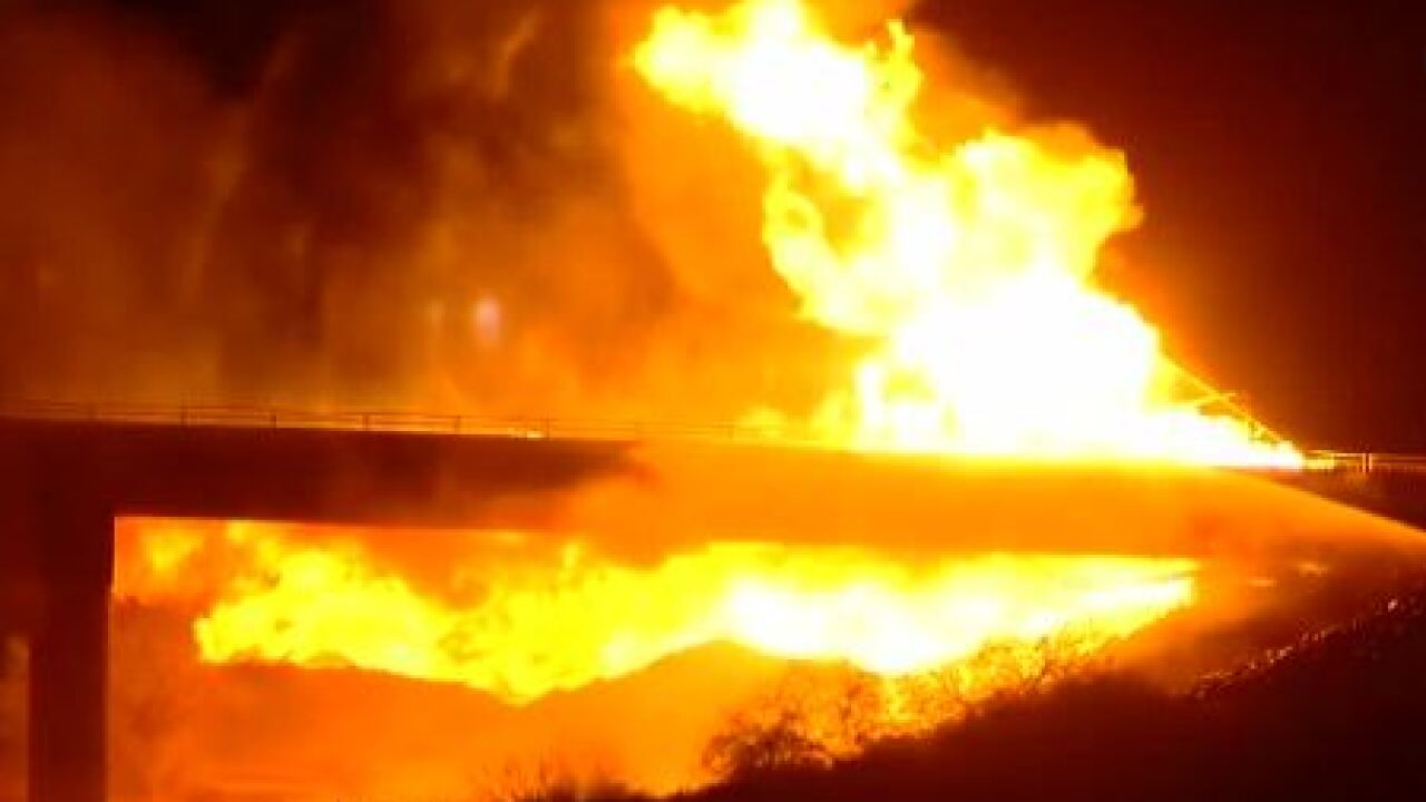 Repair work is scheduled to start this week on the Seventh Street bridge in Phoenix that was damaged by a gas-fueled fire last month. Photo via ABC15.