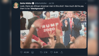 Bette Midler criticized for 'blackground' tweet