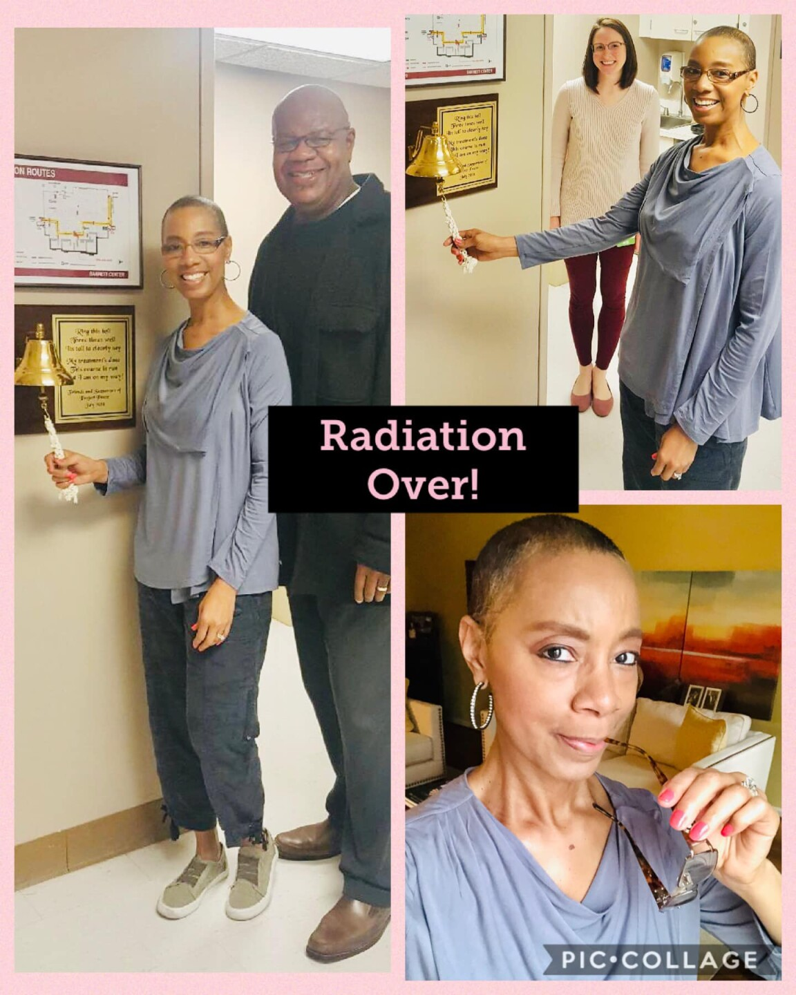 Sherry Hughes posted this Pic-Collage on Facebook on March 31, 2020, to celebrate the end of her radiation treatments. Her husband, Myron Hughes, is standing next to her in one of the photos.