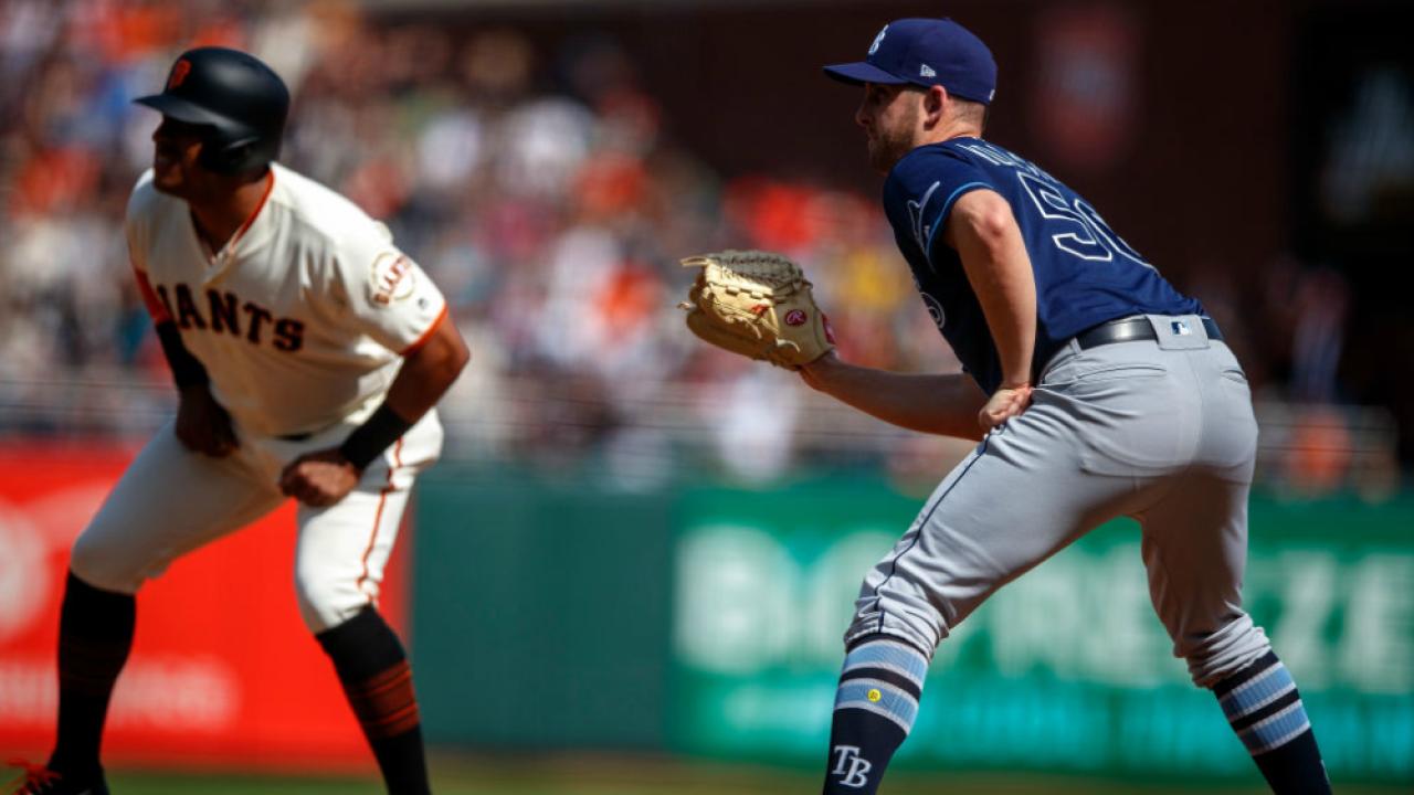 7ff2da4e2d18c Tampa Bay Rays reliever Adam Kolarek plays first base in 3-0 win ...