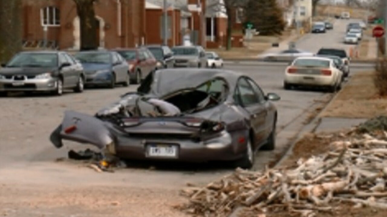 Tree crushes cars on windy Sunday