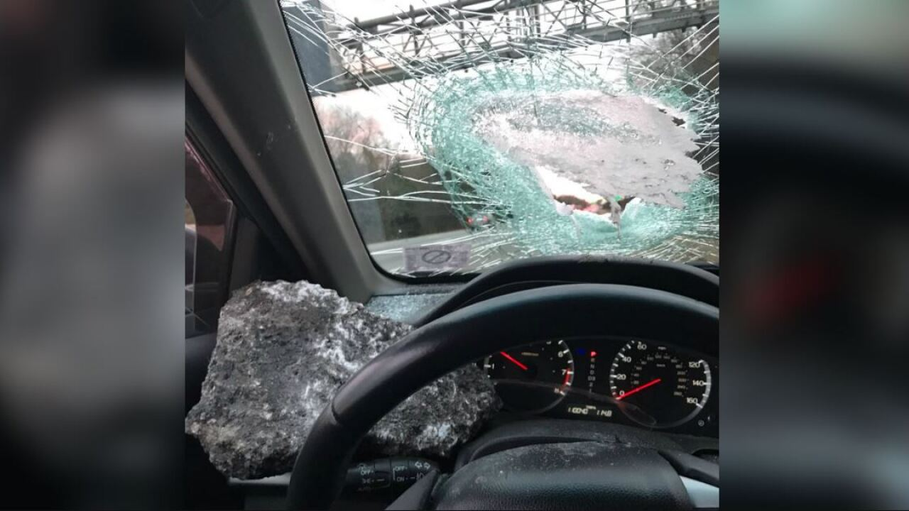 Henrico driver wants answers after rock smashes through windshield: 'I was covered in glass'