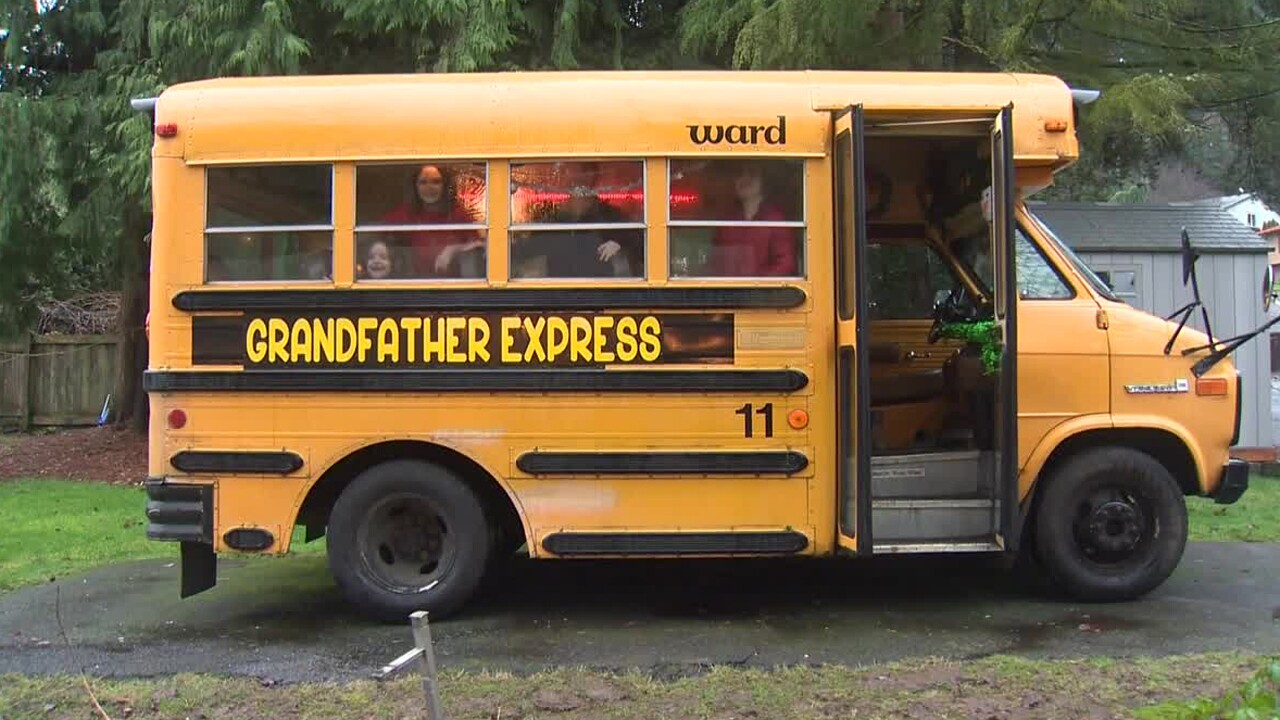 An Oregon man bought a small bus to take his 10 grandchildren to school.