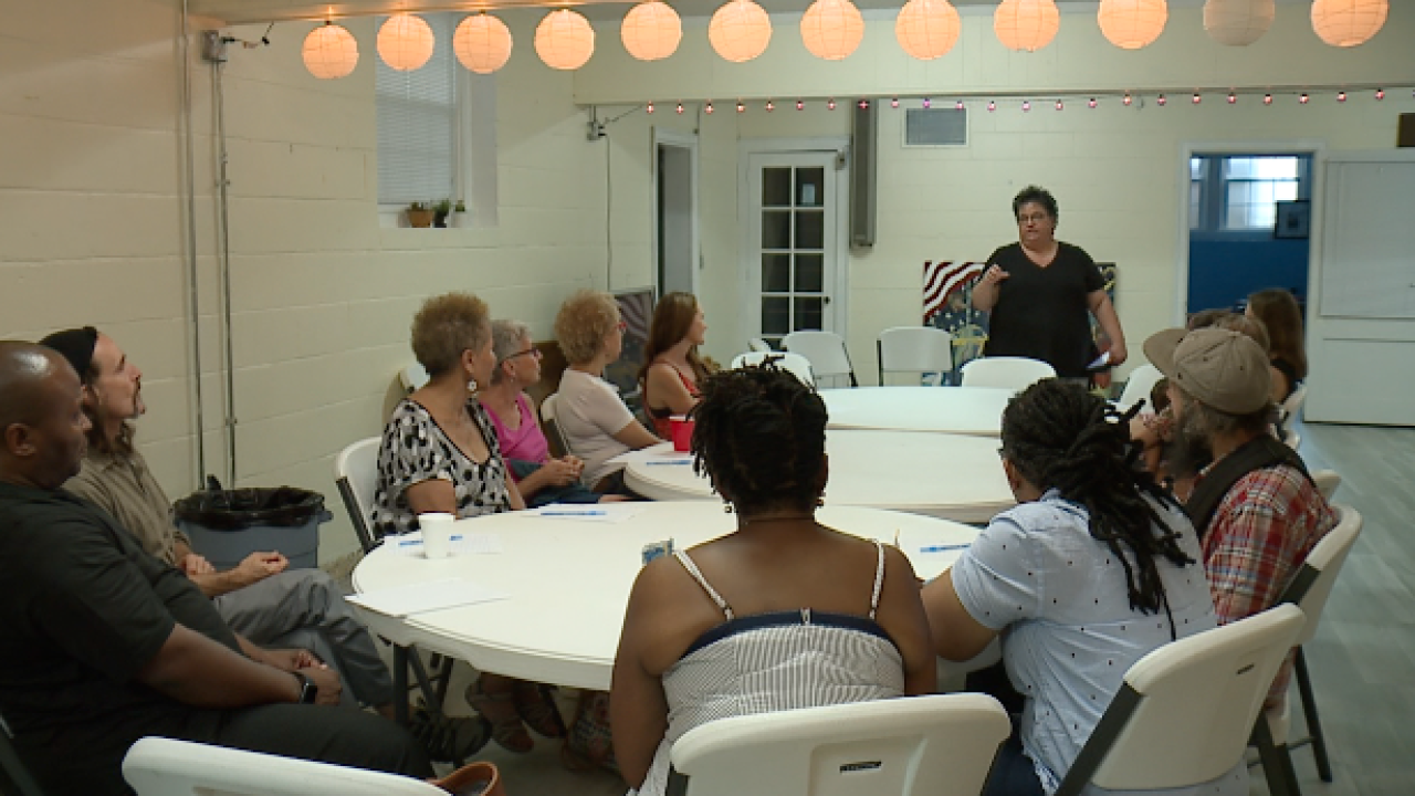 Reverend Kelly Isola moderated a conversation about gun violence at Unity Southeast on Sunday.