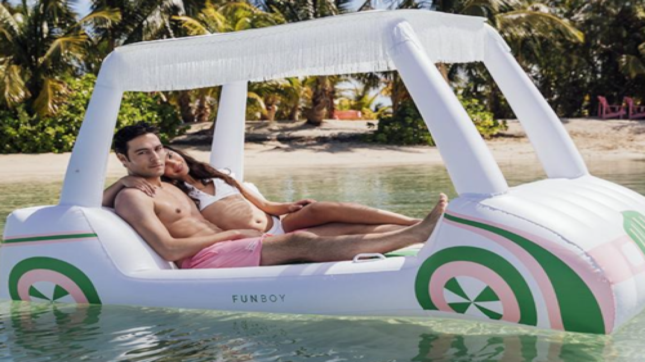 Pool Float Shaped Like A Golf Cart Even Includes A Removable Sun Shade