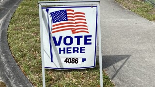 'Vote Here' sign at Delray Beach voting location, March 9, 2021