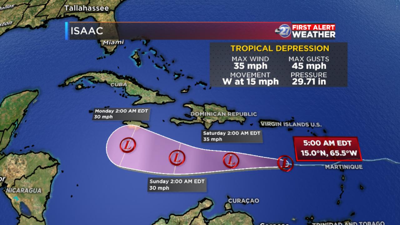 Tropical Depression Isaac Advisory and Forecast track (5:00am 09/14/2018)