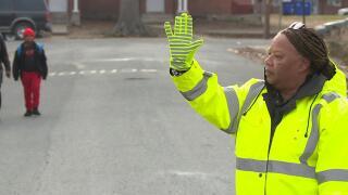 School crossing guard Gloria Davis