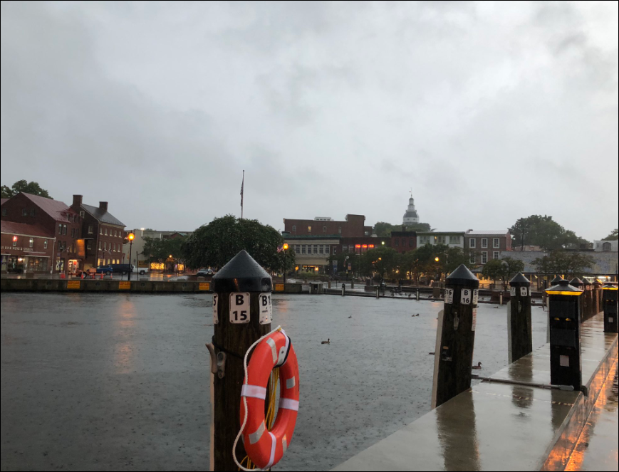 Annapolis Tuesday morning as Tropical Storm Isais approaches