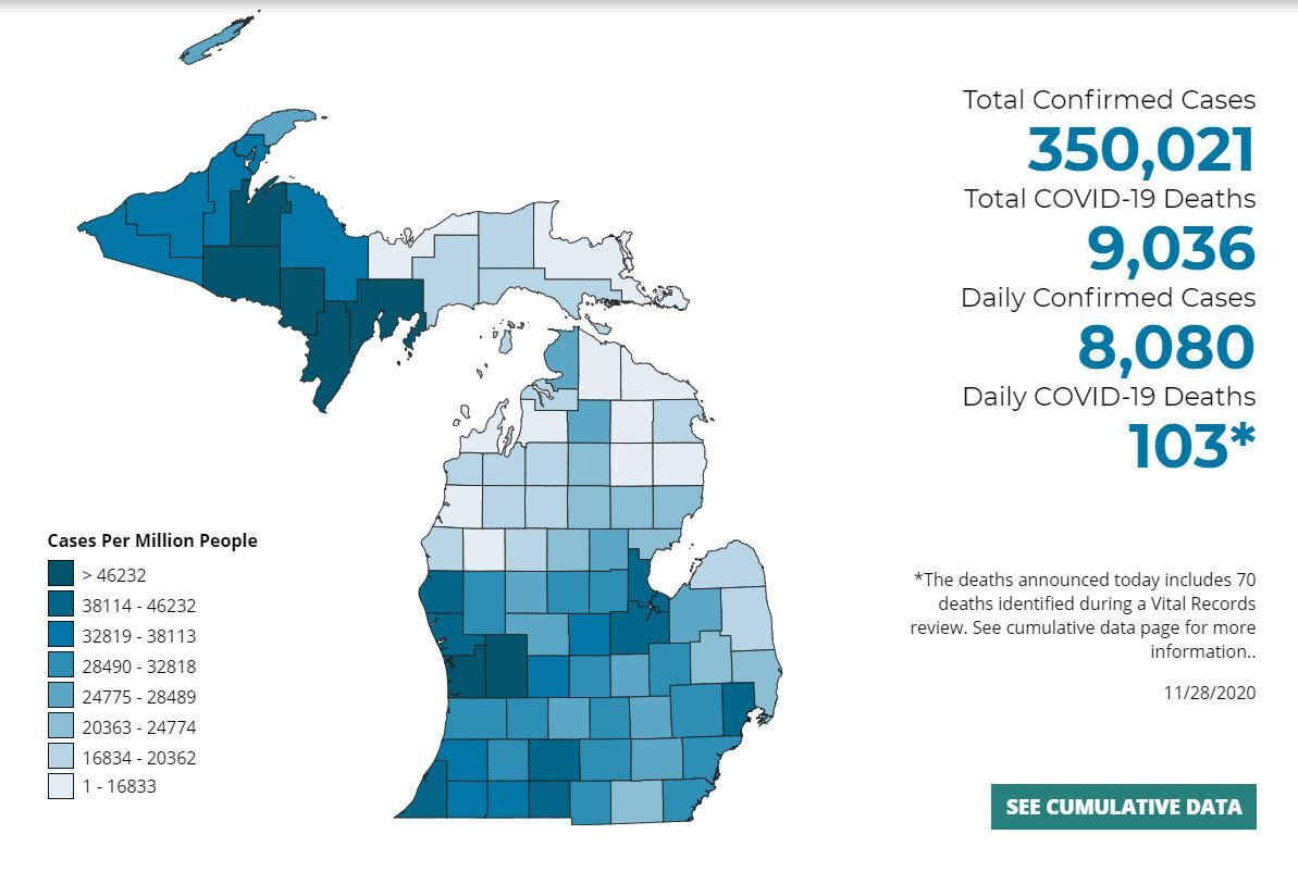 Covid-19 numbers for Michigan courtesy Michigan.Gov/Coronavirus
