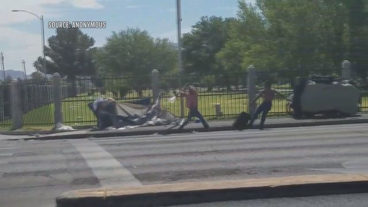 Las Vegas pickaxe attack caught on camera