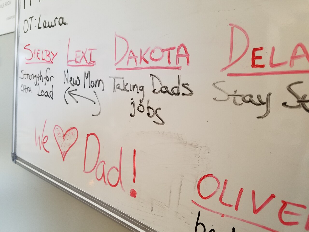 Daley has VA staff write his prayers for his family on a board every night.
