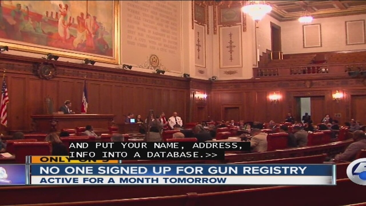 1 month later, no signups on gun registry