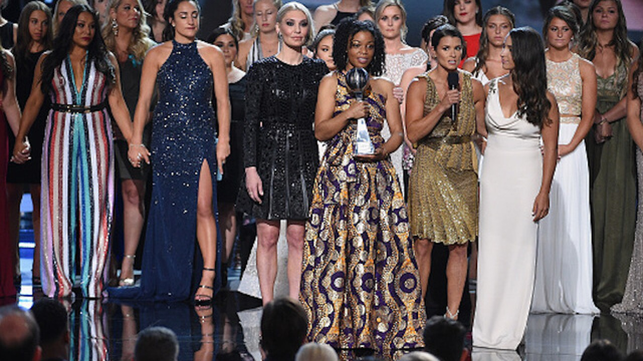 141 of Larry Nassar's victims join hands in powerful moment at ESPYS