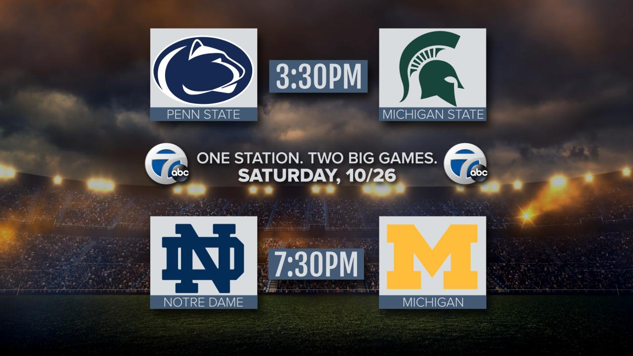 Michigan vs Notre Dame Michigan State vs Penn State graphic