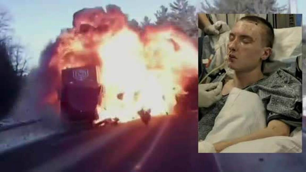 18-year-old college student survives fiery crash caught on
