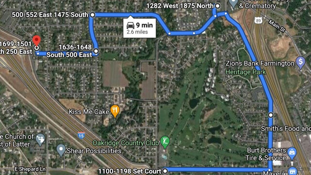 Kaysville kidnap suspect route.jpg