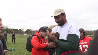 Myles Garrett at puppy party