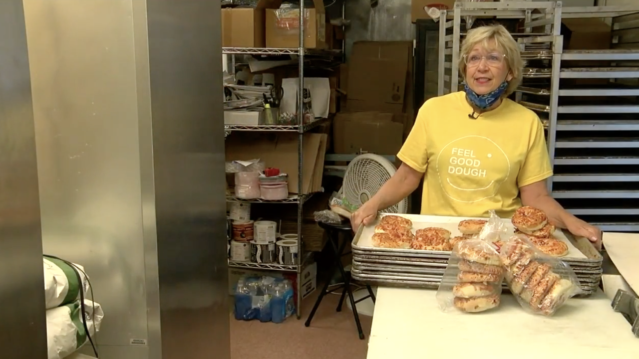 Terry Thompson owns the Pizza Bagel Lady stand.