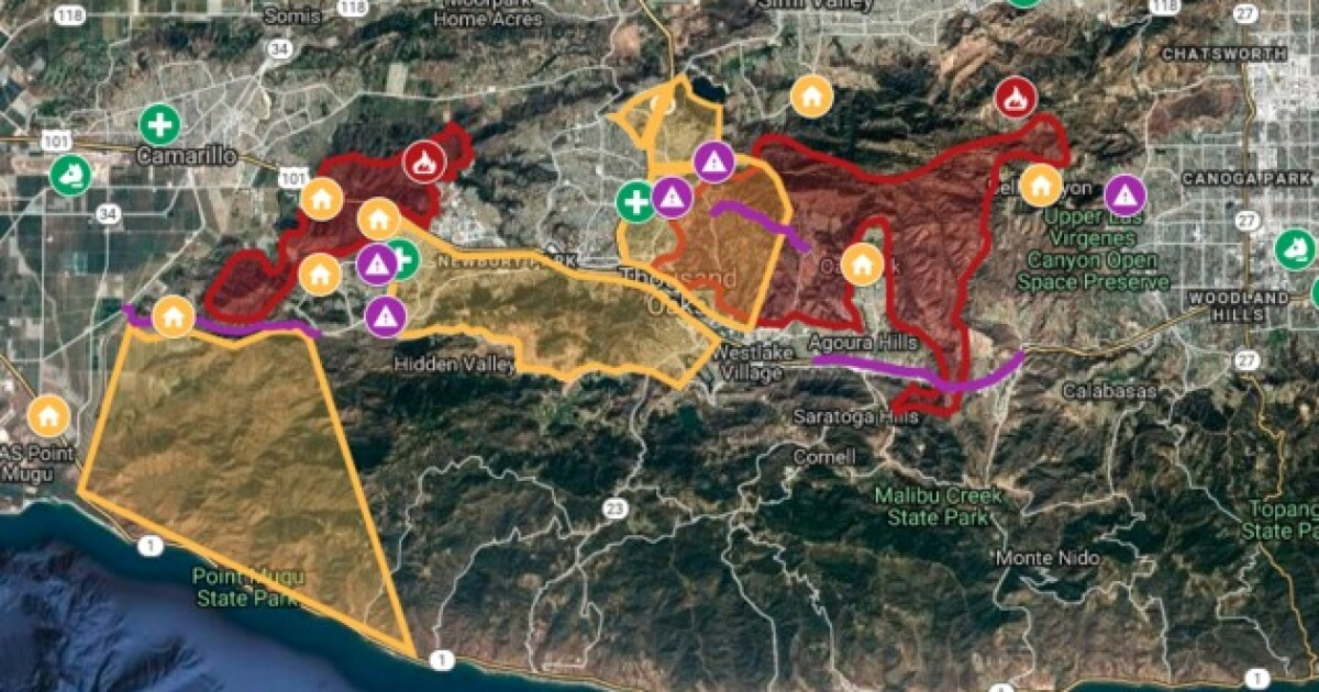 Interactive map: Hill, Woolsey fires burn in Ventura County on rand mcnally map of california, political map of california, topo map of california, geological map of california, printable map of california,