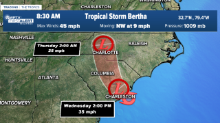Tropical Storm Bertha 8:30 a.m. Thursday cone