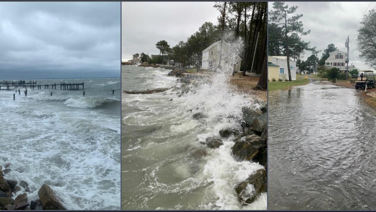 Waves pound shoreline, flood roads inDeltaville