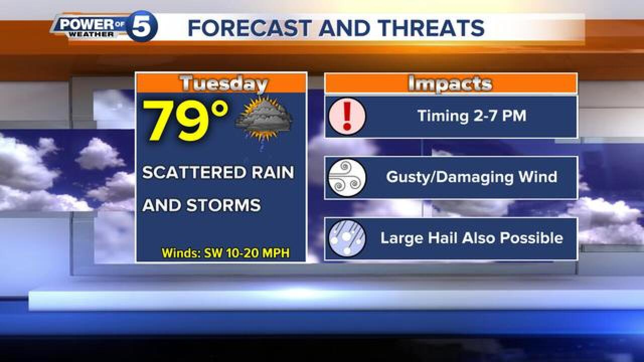 Slight risk of severe storms Tuesday afternoon