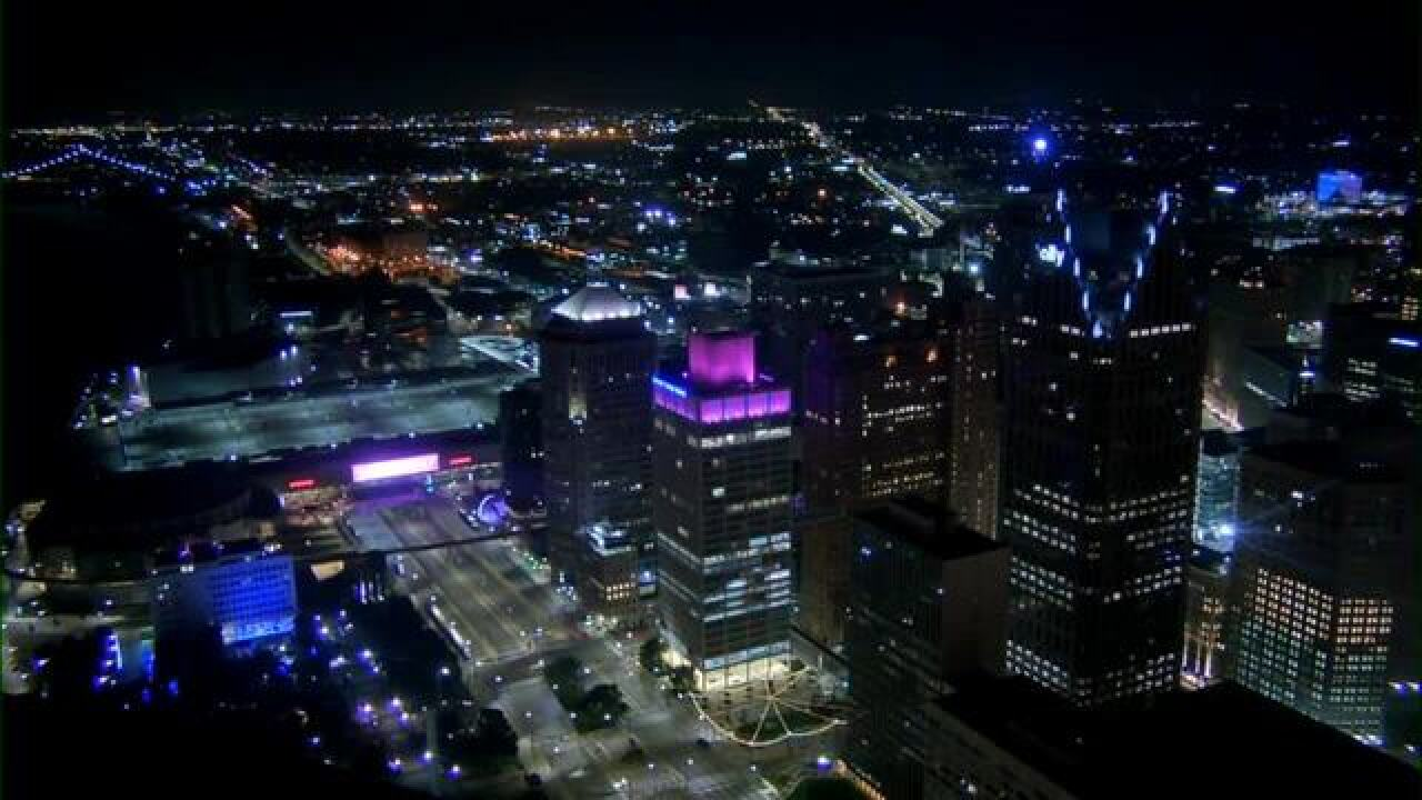 Downtown Detroit buildings lit up in pink to honor Aretha Franklin